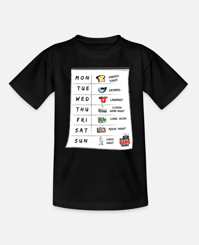 Big T-Shirts - The Big Bang Theory Sheldons Kalender Teenager T-S - Teenager T-Shirt Schwarz