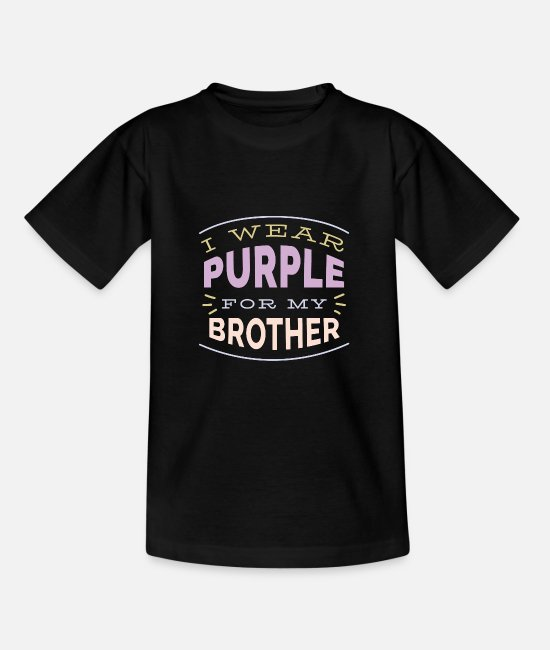 Big Sister T-Shirts - I Wear Purple for my Brother Cystic Fibrosis CF - Teenage T-Shirt black