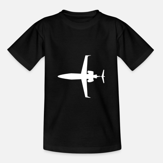 Gift Idea T-Shirts - Airplane Silhouette Jet Jet Jet Turbine Gift - Teenage T-Shirt black