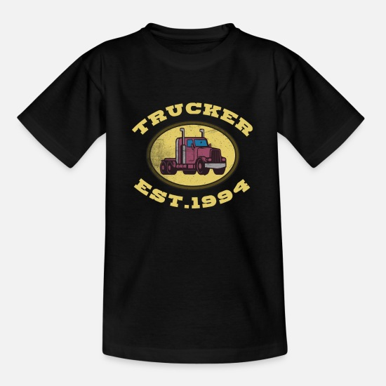 Love T-Shirts - Trucker Truck driver Highway 8 drive Transport - Teenage T-Shirt black