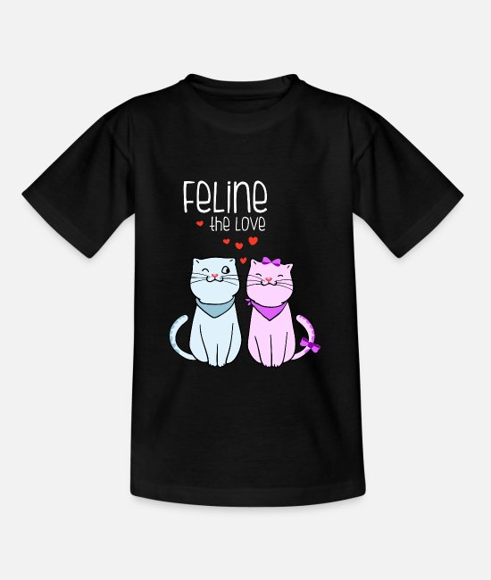 Lovestruck T-Shirts - feline the love valentines cat couple frauen overs - Teenager T-Shirt Schwarz