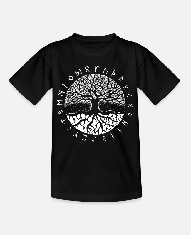 Nature T-Shirts - Yggdrasil the world tree with older Futhark - Teenage T-Shirt black
