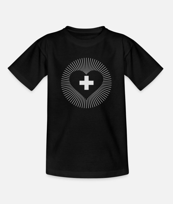 Swissness T-Shirts - CS - Schweizer Kreuz Herz - Teenage T-Shirt black