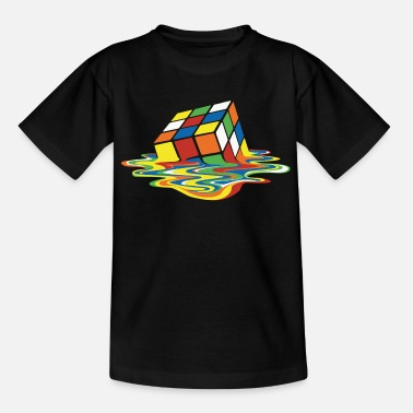 Rubik's Cube Melted Colourful Puddle - Teenager T-shirt
