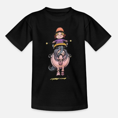 Pony Thelwell Rider Balancing On Cute Horse - Teenage T-Shirt