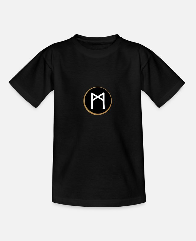 Viking T-Shirts - Mannaz Futhark Rune - Mankind, Intelligence - Teenage T-Shirt black