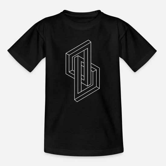 Nerd T-Shirts - Optical Illusion - Impossible figure - Geometry - Teenager T-Shirt Schwarz