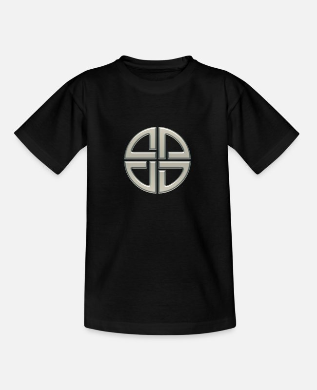 Platonic Solids Metatrons T-Shirts - Celtic shield knot, Protection Amulet, Germanic, - Teenage T-Shirt black