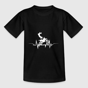 Motocross Biker Heartbeat Gift For Motorbike Lover - Teenage T-shirt