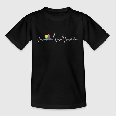 Asperger autism heartbeat gift - Teenage T-shirt