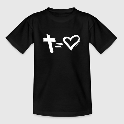 Cross = Heart WHITE // Kreuz = Liebe WEISS - Teenager T-Shirt