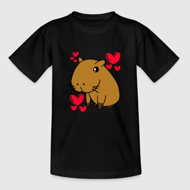 Capybara Lovely Valentine's Day Cute Hearts - Teenage T-shirt