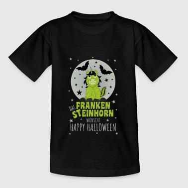 Das Frankensteinhorn wünscht Happy Halloween grau - Teenager T-Shirt