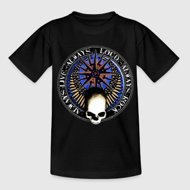 rock_and_roll_and_skull_and_pentagram_w Buttons / Anstecker - Teenager T-Shirt