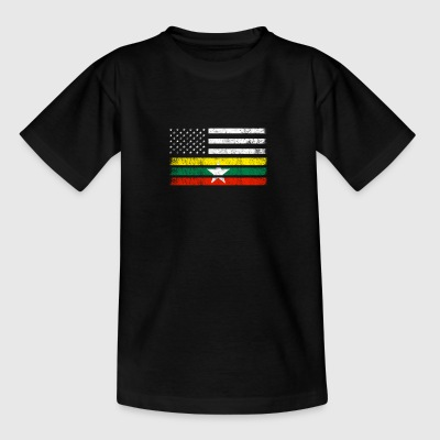 Myanmar American Flag - USA Myanmar Shirt - Teenage T-shirt