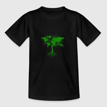 Tree with world maps green - Teenage T-shirt