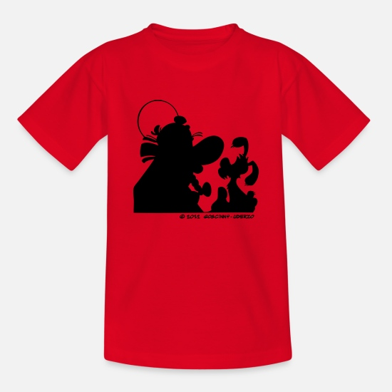 Asterix T-Shirts - Asterix & Obelix with Idefix shadowTeenager T-Shir - Teenage T-Shirt red