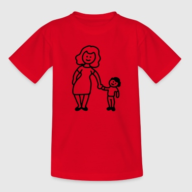 Mutter / Oma + Kind - Line - Teenager T-Shirt