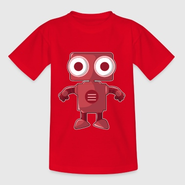 Funny red robot with big eyes - Teenage T-Shirt