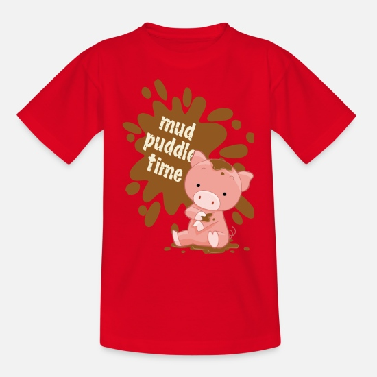Puddle T-Shirts - MUD PUDDLE PIGGY - Teenage T-Shirt red