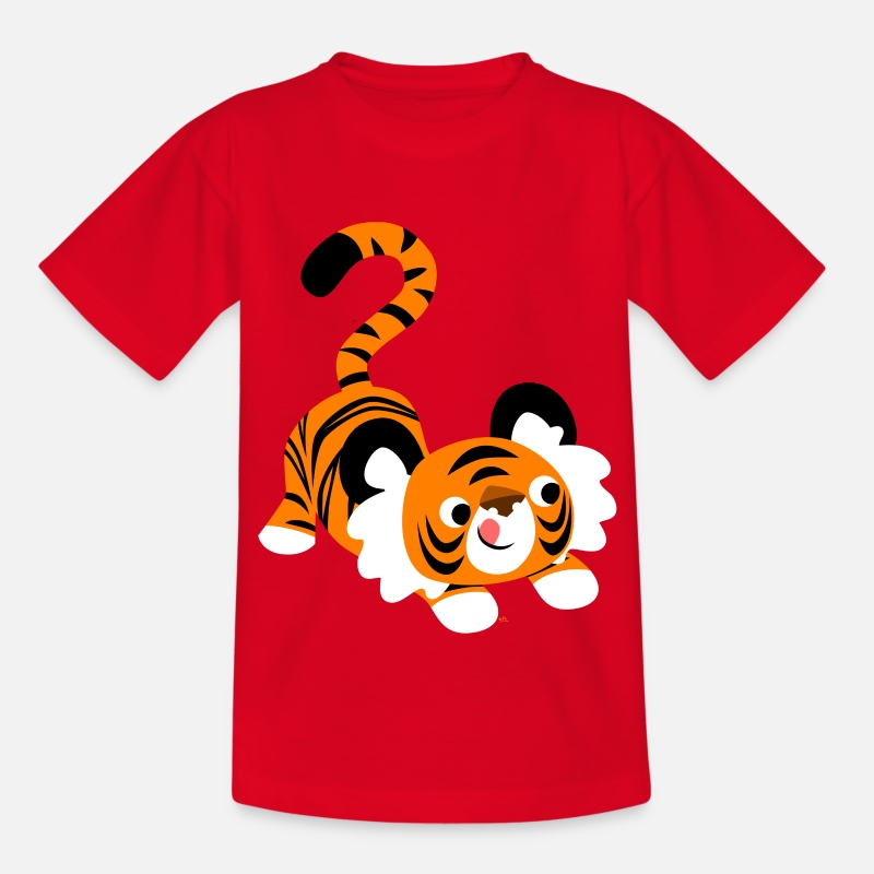 Pounce T-Shirts - Cute Cartoon Tiger Ready To Pounce!! by Cheerful Madness!! - Teenage T-Shirt red