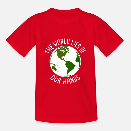 Gift Idea T-Shirts - The world is in your hands Vegan gift - Teenage T-Shirt red