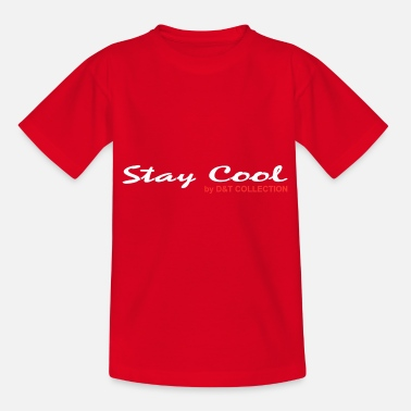 D&T COLLECTION STAY COOL WEIß ROT SCHRIFTZUG - Teenager T-Shirt