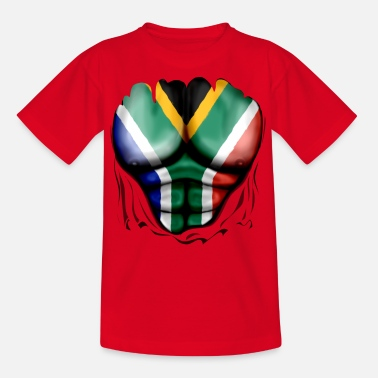 South Africa Flag Ripped Muscles, six pack, chest t-shirt - Teenage T-Shirt