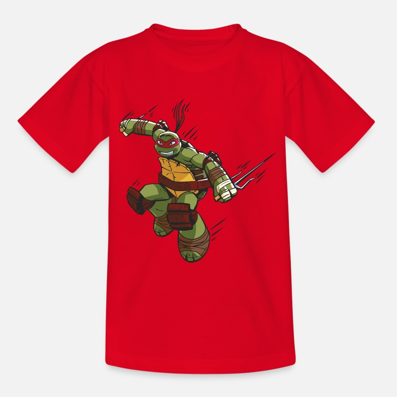Ninja Turtles T-Shirts - TMNT Turtles Raphael Ready For Action - Teenage T-Shirt red
