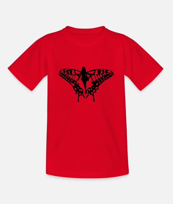 Drawing T-Shirts - Black elf with big wings - Teenage T-Shirt red