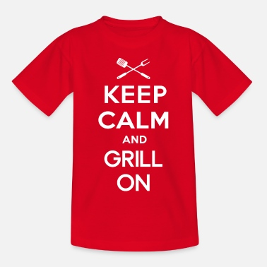 Keep Calm Blijf kalm en grill op - Teenager T-shirt