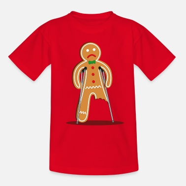 Funny Christmas gingerbread man hurt (red) - Teenage T-Shirt
