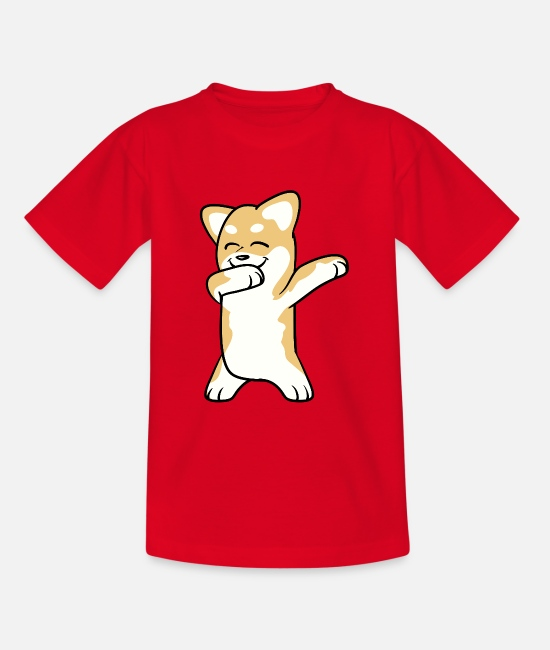 Pet T-Shirts - Dabbing Shiba Inu Dog Dancing - Teenage T-Shirt red