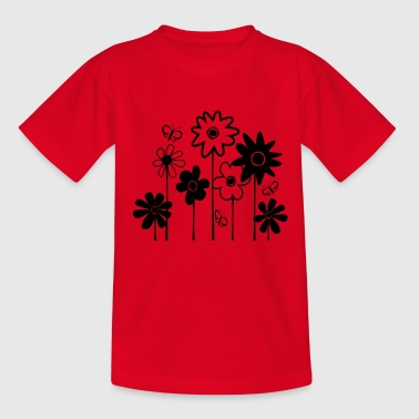 Cute Funky Flowers With Butterflies--DIGITAL DIRECT PRINT - Teenage T-shirt
