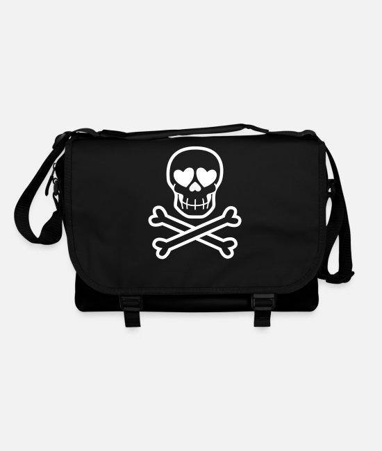 Skull And Crossbones Bags & Backpacks - Eros & Thanatos Skull and Crossbones by Cheerful - Shoulder Bag black/black