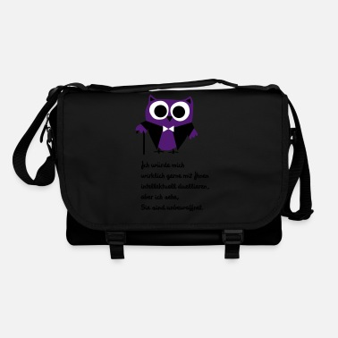 Owl, satire, saying Intellectually duel - Shoulder Bag