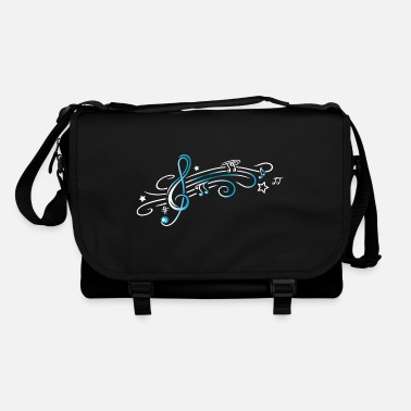 Music Music, clef with stars and music notes. Turquoise - Shoulder Bag