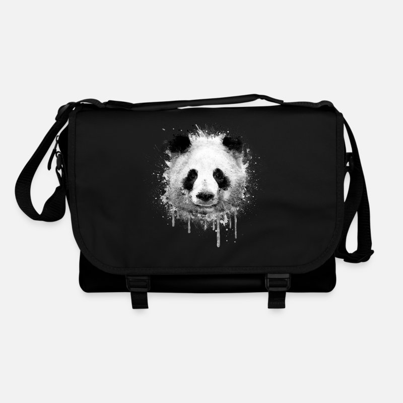 Panda Bags & Backpacks - Cool Artistic Panda Portrait ( watercolor design) - Shoulder Bag black/black