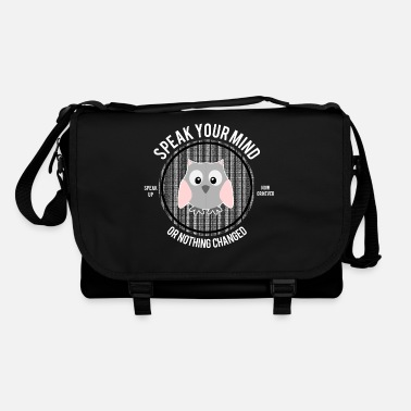 Puanteur Speak Your Mind Background Text: Va te faire foutre chouette - Sac bandoulière