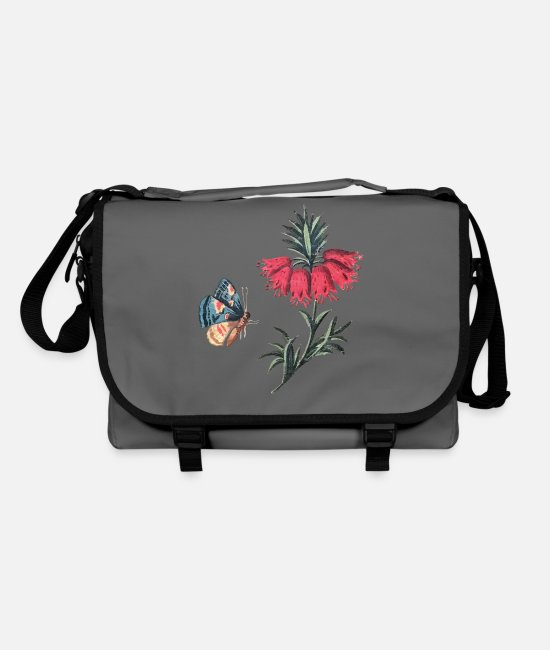 Red Bags & Backpacks - Flying butterfly with flowers - Shoulder Bag graphite/black