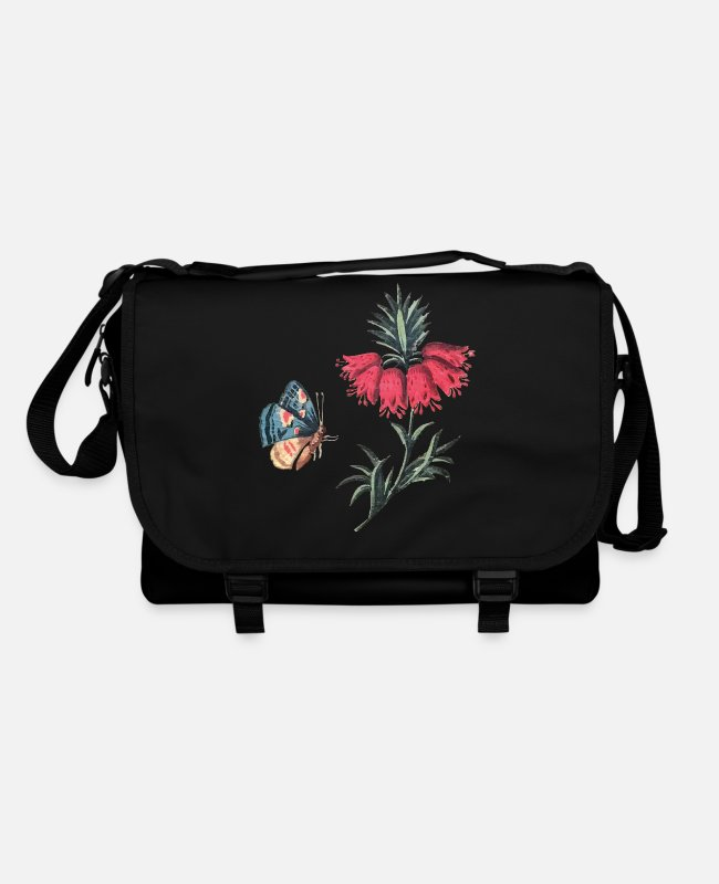 Red Bags & Backpacks - Flying butterfly with flowers - Shoulder Bag black/black