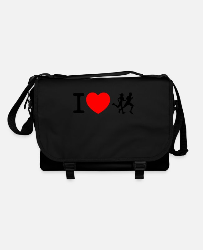 Heart Bags & Backpacks - I love racing - jogging - Shoulder Bag black/black