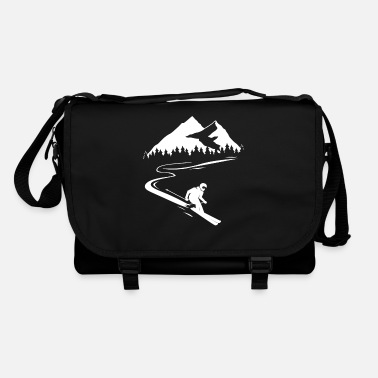 Snow Skier mountains winter skiing winter sports - Shoulder Bag