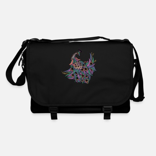 Indian Bags & Backpacks - Spiritual Peahen - Magical Ornamental Bird Animal - Shoulder Bag black/black