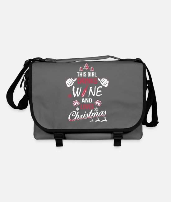 Wine Love Bags & Backpacks - This Girl drinks Wine and loves Christmas - Shoulder Bag graphite/black