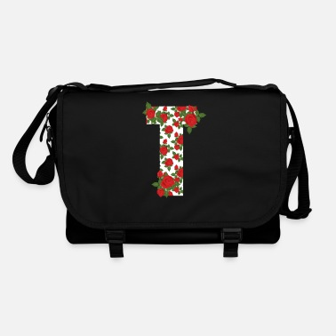 Beginletter Rose Letter T Initial Flower Style Design Cool Gif - Schoudertas