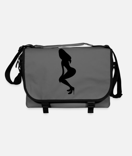Shilhouette Of Irresistibly Sexy Curvy Pole Dancer Girls With Sexy Tight Rounded Ass Vector Design Bags & Backpacks - ۞»♥Vector Sexy Wasp-waisted woman on Stilettos♥ - Shoulder Bag graphite/black