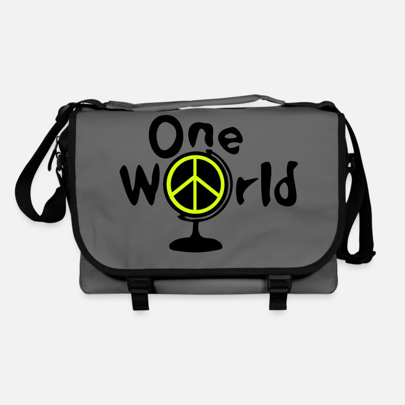 Earth Bags & Backpacks - One world peace symbol earth globe - Shoulder Bag graphite/black