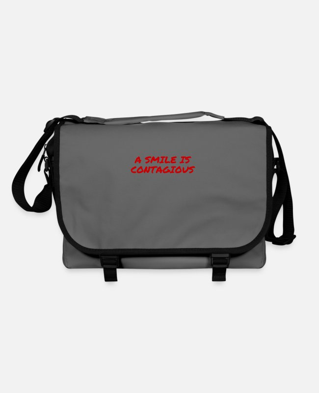 Red Bags & Backpacks - a smile is contagious - Shoulder Bag graphite/black