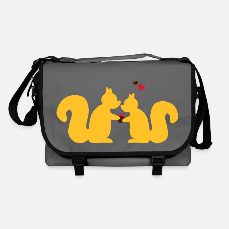 Valentine's Day Bags & Backpacks - squirrel couple in love  - Shoulder Bag graphite/black